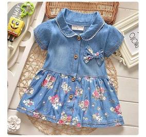 Vestido De Bebê Jeans Menina