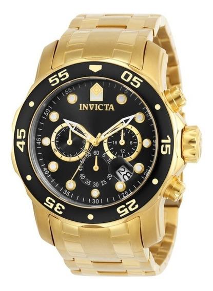 Relógio Pro Diver 0072 Aço Inox Ouro 18k Preto - Invicta