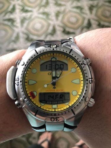 Relógio Citizen Aqualand Jp1060-52x Amarelo
