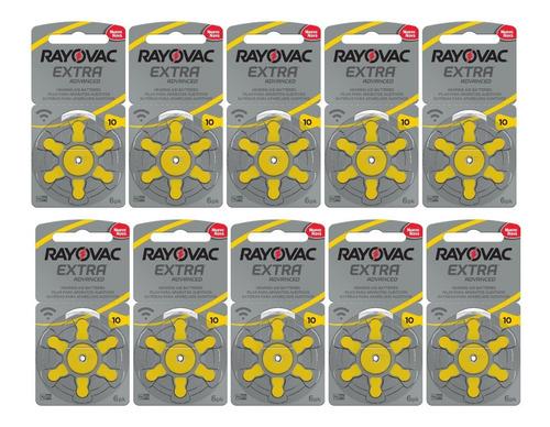 60 Pilhas Aparelho Auditivo 10, Pilha Auditiva Rayovac 10