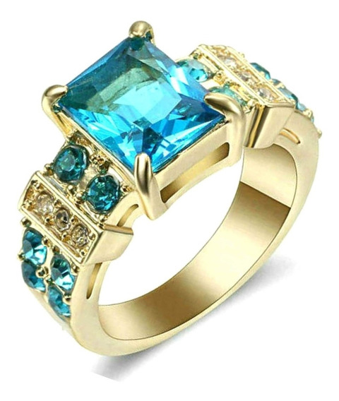 Anel Masculino Pedra Cristal Água Marinha Azul Dia 232