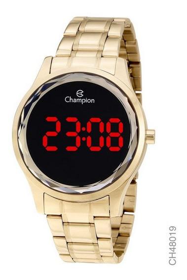 Relógio Champion Dourado Digital Led Vermelho Ch48019v Novo