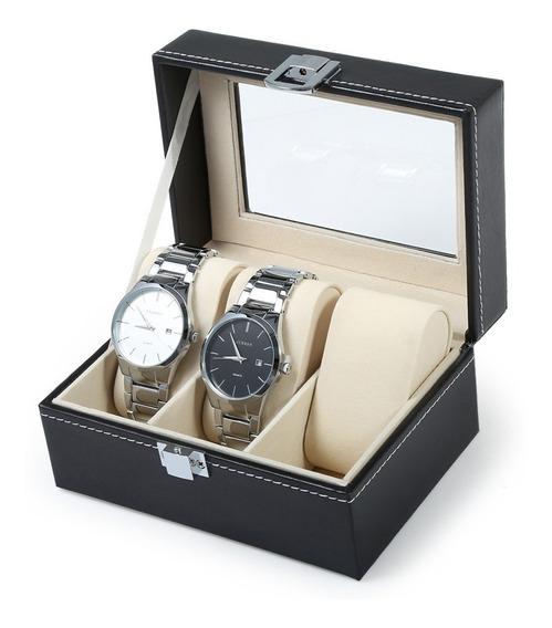 Estuche Para Relojes Caja Exhibidor Alajero Relojero Con Almohadillas Capacidad De 3 Piezas