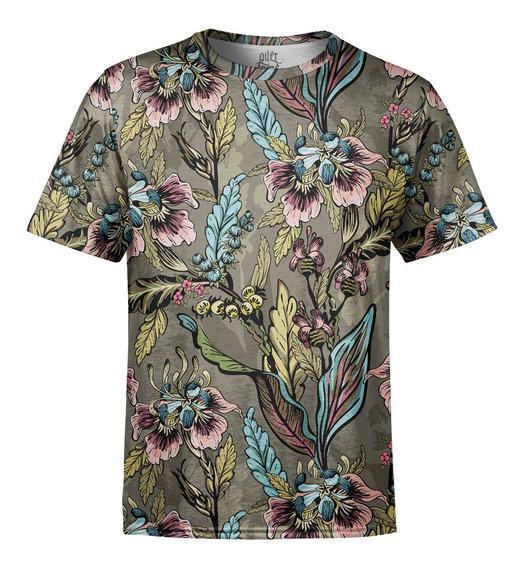 Camiseta Masculina Flores E Folhas Estampa Digital