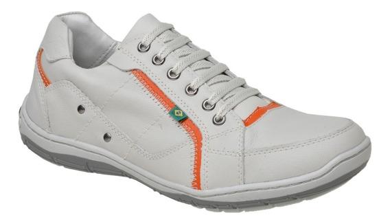 Tênis Sapato Sapatênis Casual Couro Conforto Palmilha Gel