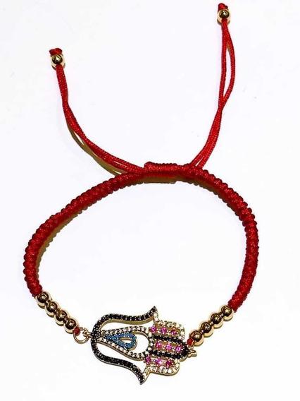 Pulsera Mano Hilo Rojo Circonia Chapa Oro Moda Dama Joyeria