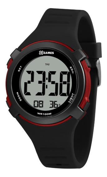 Relógio Masculino Digital Preto E Vermelho X-games Silicone