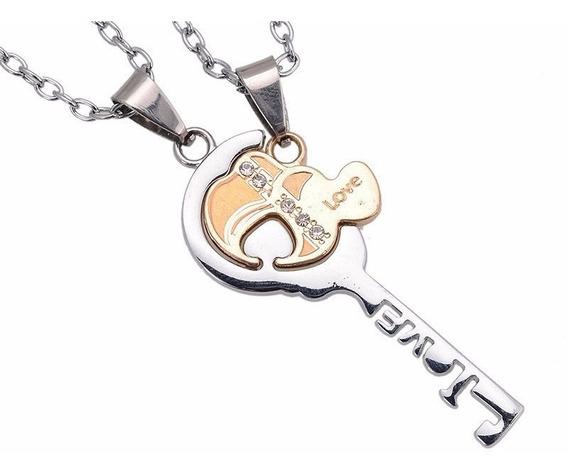 Set Collares Dijes Novios Parejas Corazon Love Llave E-796
