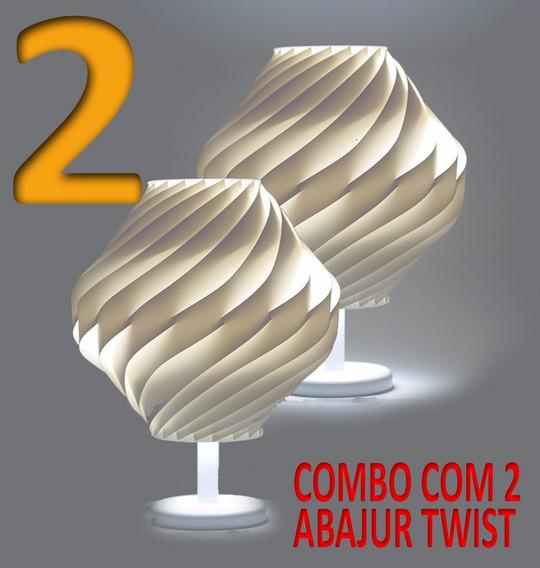 Kit Com 2 Abajures Twist Com Pedestal E Base Branca
