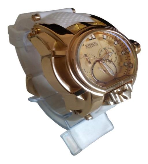 Relógio Bolt Magnum Branco Top Luxo Grande Pesado Aço Barato