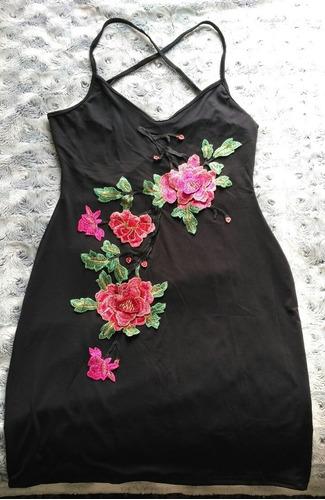 Vestido Negro Lycra C Flores Bordadas Talla M Nuevo En Stock
