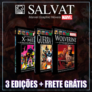 Kit Marvel - 3 Graphic Novel - Salvat Capa Preta Ou Vermelha