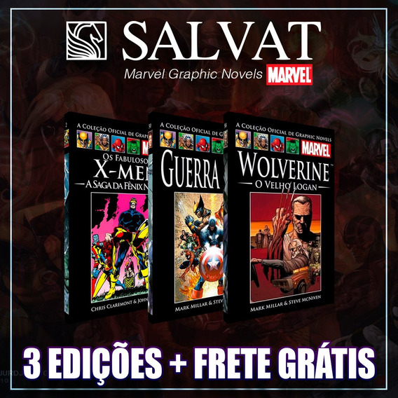 Kit Marvel - 3 Graphic Novel - Salvat Capa Preta Ou Vermelha