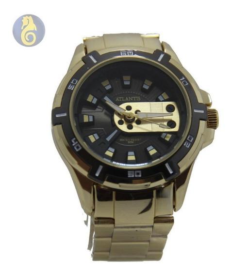 Relógio Masculino Dourado Analogico Quartz Ponteiro Sport