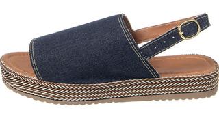 Sandália Flatform Corda Jeans