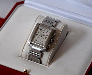 Reloj Cartier Tank Chrono Año 2001 Papeles Y Caja!impecable!