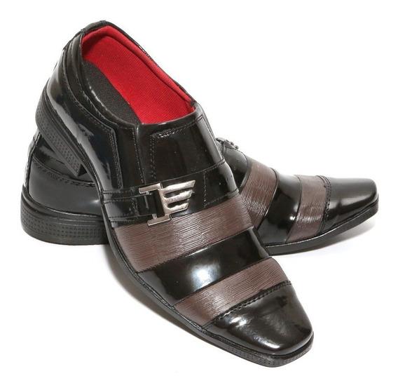 Sapato Social Masculino Couro Ecológico Verniz Preto Oferta