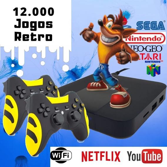 Video Game Retrô 12 Mil Jogos - 2 Controles Sem Fio -tv Box