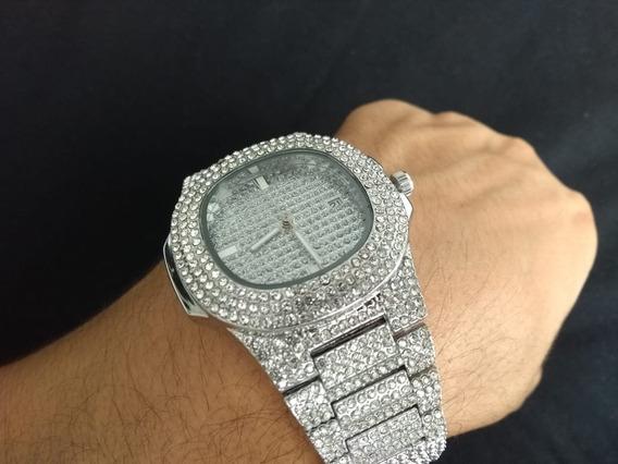 Relógio Prata Cravejado Zirconia Hip Hop Pronta Entrega