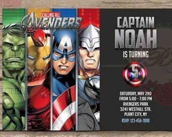 Tarjeta Invitacion Avengers Personalizada Cumpleaños