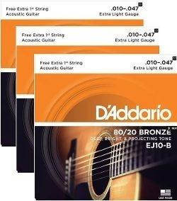 Kit Com 3 Encordoamentos Daddario Violão Aço Ej10-3d 010-3 Jogos Originais C/ Nota Fiscal