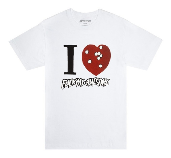Playera Fucking Awesome I Heart Blanca Envio Gratis