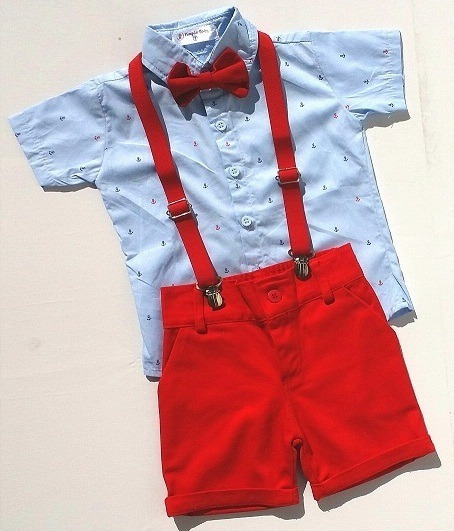 Conj. Social Roupa Infant. Menino Festa Âncora Cor Azul Bebê