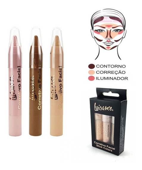 Kit Corretivo Luisance Facial Contorno Stick Colors