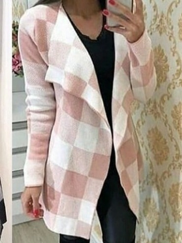 1 Kimono Xadrez Cardigan Frio Trico Grosso Inverno
