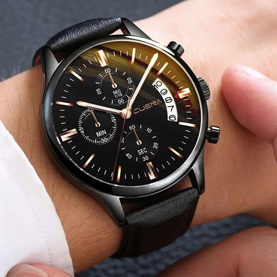 Relógio Pulso Masculino Couro Social Luxo