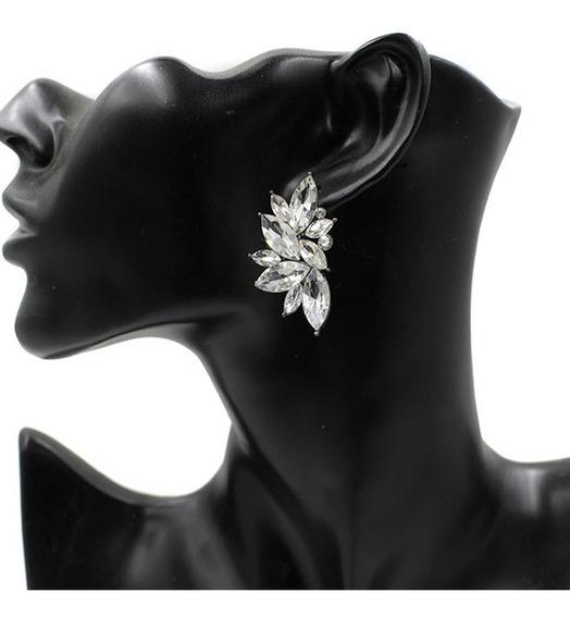 Brinco Feminino Ear Cuff Asa Flor Grande Cristais Festa Luxo