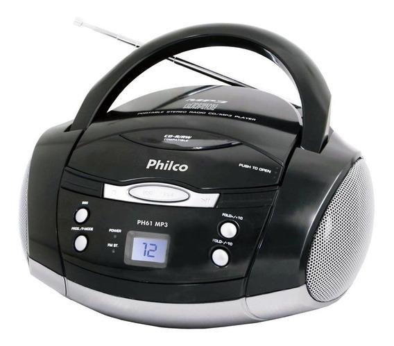 Rádio Portátil Philco Cd, Mp3, Aux. E Fm 3,4w Rms Bivolt Preto/prata - Ph61
