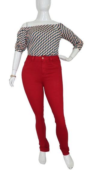 Calça Skinny Plus Size Feminina Vermelho Cambos Extra Grande