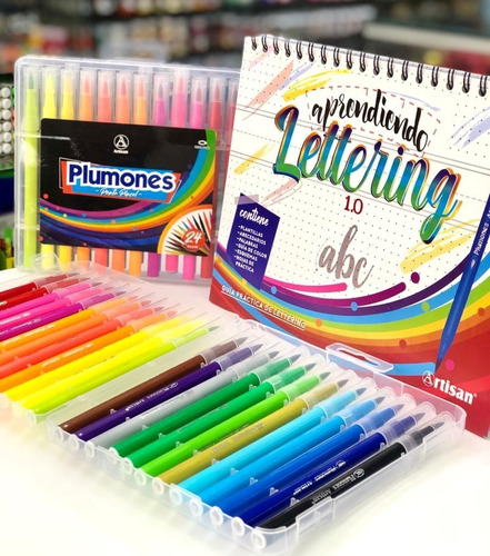 Kit Aprendiendo Lettering - Guía + 24 Plumones Punta Pincel