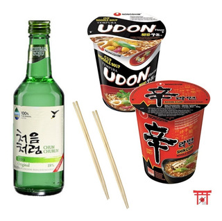 Kit 2 Lamen Coreano Em Copo (udon, Shin) + 1 Soju + 2 Hashi