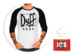 Envío Gratis Playera Raglan Caballero Duff Beer + Sticker M2