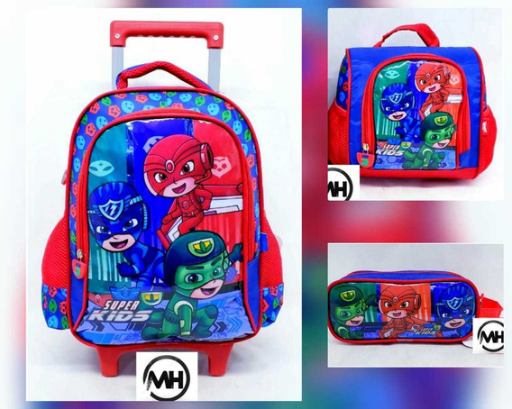 Kit Mochila De Rodinha Escolar Infantil M Super Kids 3itens