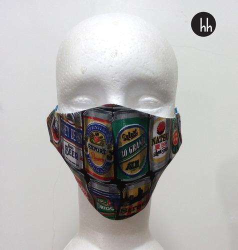 Máscara De Tecido Cerveja Forro Duas Camadas Kit Com 13