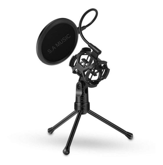 Tripé Suporte Microfone + Pop Filter + Shock Mount Aranha