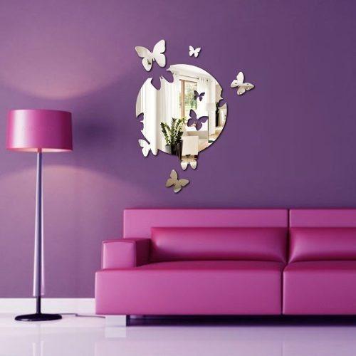 Espelho Decorativo - Acrílico Espelhado - Círculo Borboletas
