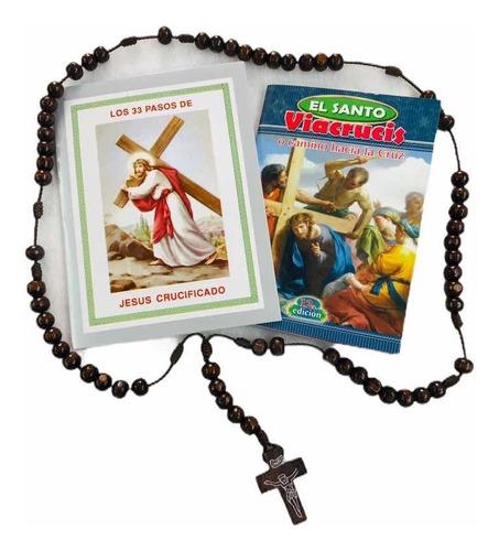 Los 33 Pasos De Jesús + Viacrucis + Camándula De Madera