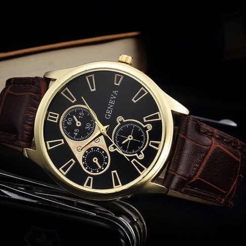 Relógio Quartz Masculino Geneva Social Pulseira Couro