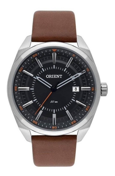 Relógio Orient Mascul. Prata Mbsc1029 G1nx Calendário Couro