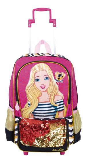 Mochila Infantil De Rodinha Menina Barbie 19z 65199 Rosa