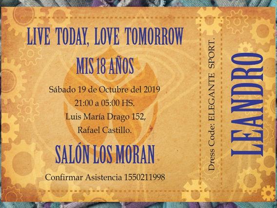 20 Invitaciones Boleto Tomorrowland Cumpleaños 15 Años