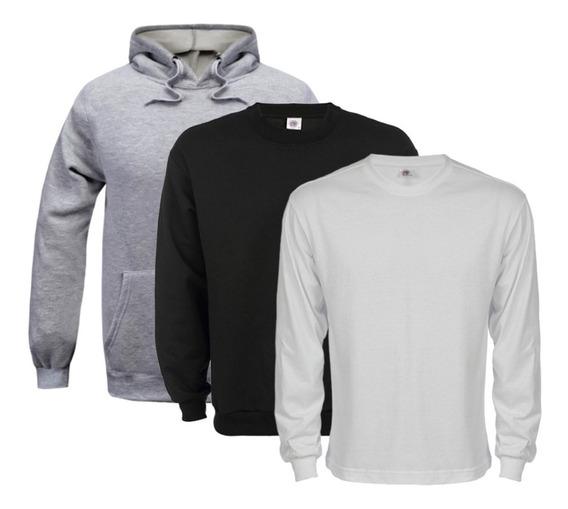 Kit Camisa Manga Longa Fio 30.1 Penteado + Blusa De Moleton