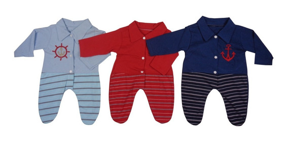 Macacão Bebê Recém-nascido Menino - Kit Com 3 Unidades
