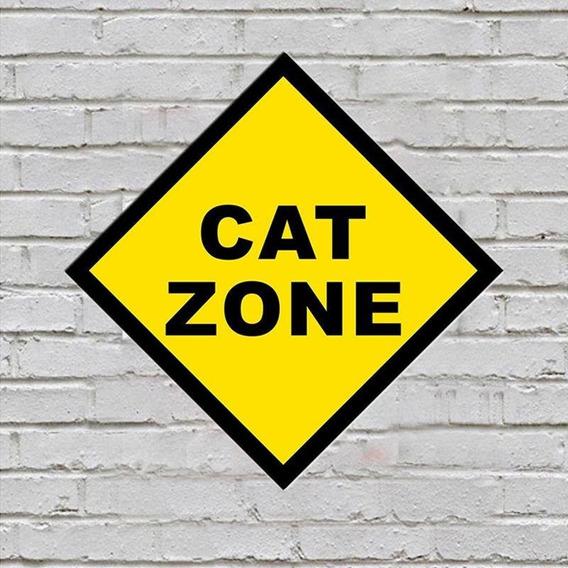 Placa De Parede Decorativa Cat Zone Shopb Pronta Entrega