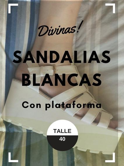 Sandalias Blancas Con Plataforma