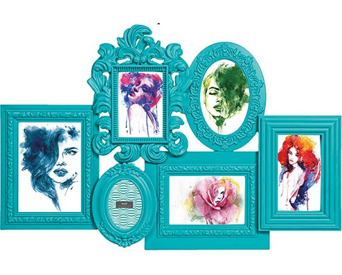 Porta Retrato Provençal Mart Azul 6 Fotos 62x42cm
